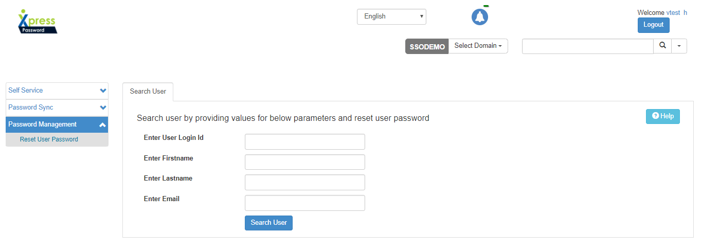 Helpdesk can search users for Password Manamgent - Xpress Password