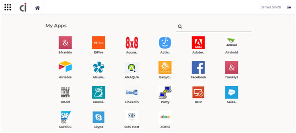 Dashboard showing list of apps available for Single Sign-On