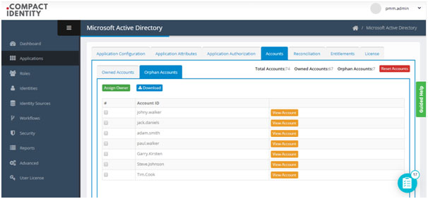 List of orphan accounts detected in an organization