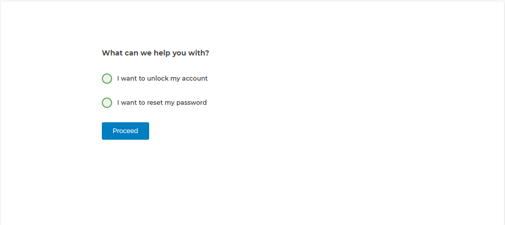 User initiated password reset options