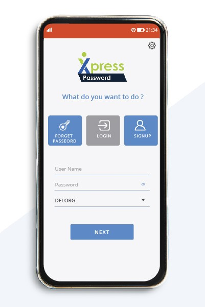 Xpress Password login screen for mobile app - iOS and Android